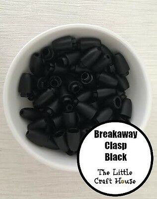 50 Set Breakaway Clasp Black Safety Plastic Silicone Bead Necklace Sets Lanyard