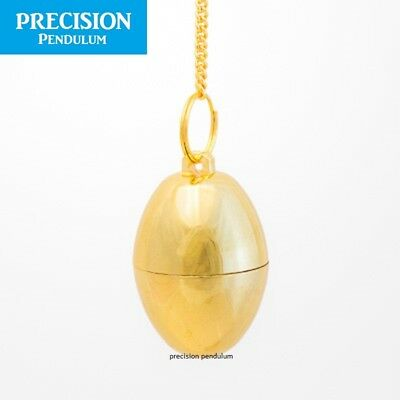 Golden Enchanted Egg Chamber Metal Precision Pendulum with Chain Divination