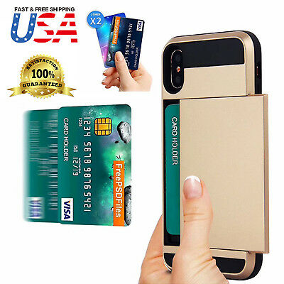 Shockproof Wallet Credit Card Holder Protective Case Cover Fits Apple iPhone