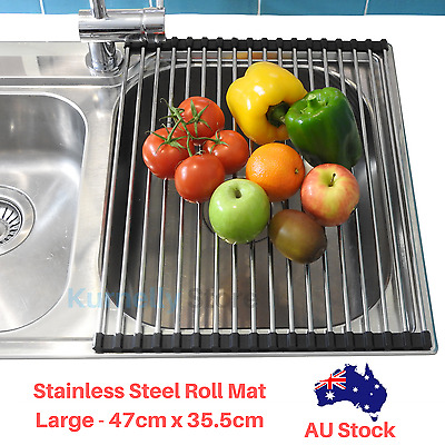 Kitchen Over the Sink Dish Drying Rack Roll Up Stainless Steel Colander Drainer