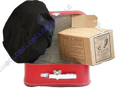 Wartime-1940's Girl's Dressing up Set Bonnet-Gas Mask Box-Luggage Label-Suitcase