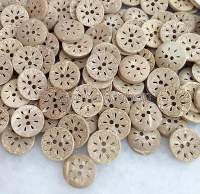 100pcs Natural Coconut Shell Buttons Fit Sewing Or Scrapbooking DIY Bck016