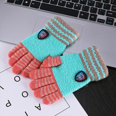 Kids Thicker Universal Stripe Warm Knitted Wool Gloves Winter 5-8T Random Color