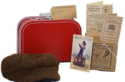 Wartime-1940's Boys Tweed Cap-Gas mask Box-Suitcase-Ration Book-ID Card Set