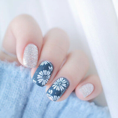 24Pcs Flower Nail Art Blue With Silver Full Cover False Nails Long Length Summer