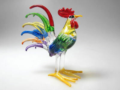 Country Kitchen Decor MINIATURE HAND BLOWN Art GLASS Rooster Chicken FIGURINE