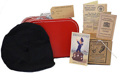 Wartime-1940's GIRLS-Bonnet/Beret-Gas Mask Box-Suitcase-Ration Book-ID Card Set