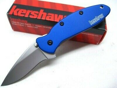 KERSHAW Navy Blue SCALLION Assisted Straight 420HC Folding Pocket Knife! 1620NB