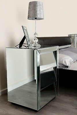 PAIR of Angled Mirrored Venetian bedside cabinet table bedroom furniture silver!