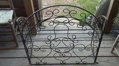 Heavy Handmade Old Mexico Wrought Iron Filigree Fireplace Rack..really Nice!!