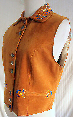 Vintage Women's Tan Suede Western Floral Embroidered Vest sz Small