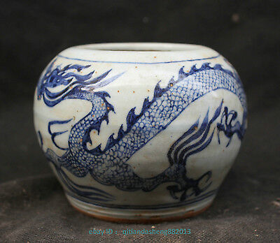 Chinese Blue and White Porcelain Dragon Jar Pot Cans Jug C