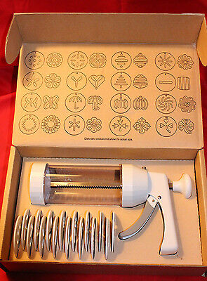 Pampered Chef Cookie press 1525 with Complete Set of 16 disks - BRAND NEW-UNUSED