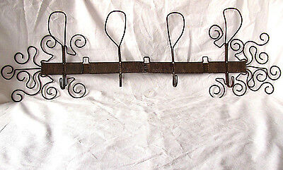 Antique Primitive Old Hand Made Unique Metal Iron Wire Wall Hanging