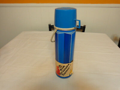 1974 Vintage King-Seeley Hot Cold Thermos Handle Vacuum Bottle Blue Metal
