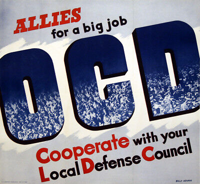 Original Vintage WWII Poster O.C.D. Allies for a Big Job by Emily Newman 1942
