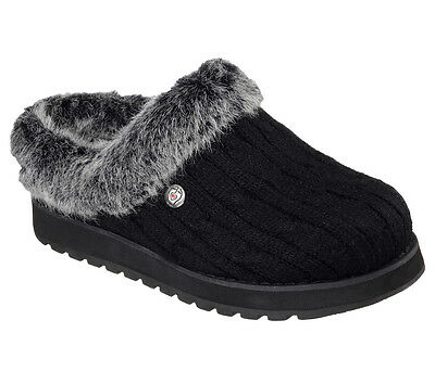31204 W Wide Fit Black Bobs Skechers shoe Women Memory Foam Slip On Slipper Clog