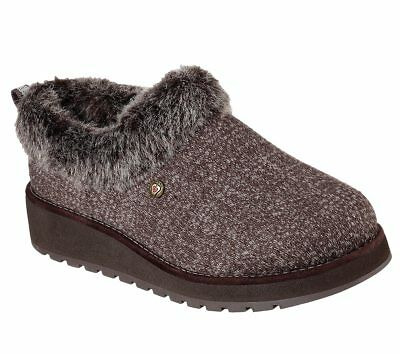31231 Brown Bobs Skechers shoes Women Memory Foam Slip On Slipper Faux Fur Clog