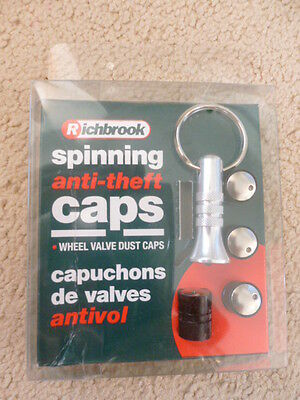 Set Of 4 Richbrook Spinning Car Anti-Theft Black Alloy Wheel Valve Dust Caps
