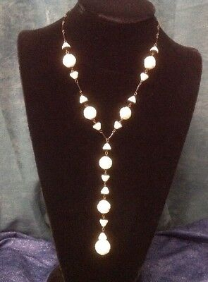 Vintage Antique Milk White Glass Rose Flower Bead Y Necklace