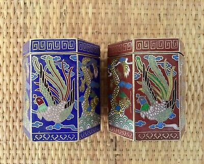 Pair of Phoenix And Dragon Cloisonne Hexagon Trinket Jar Snuff Canister Boxes