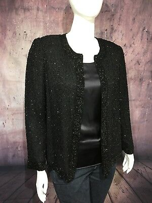 VINTAGE Laurence Kazar Plus Size 1X Black Silk Cocktail Jacket Beaded SHIPS FREE
