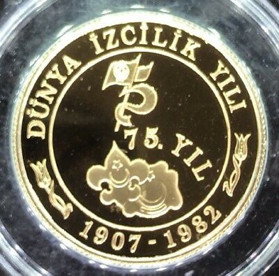 Turkey 30000 Lira 1982 Gold Anniversary of Scouting Royal Mint Mintage 34 pieces