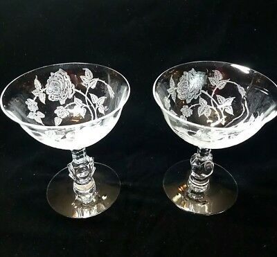 Heisey etched Rose Saucer Champagne Sherbet Glasses stems 4 5/8""