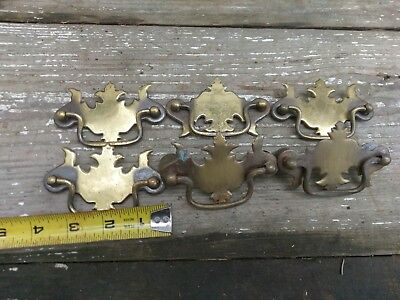 6 Vintage Solid Brass Ornate Furniture drawer Pulls/Handles/Hardware