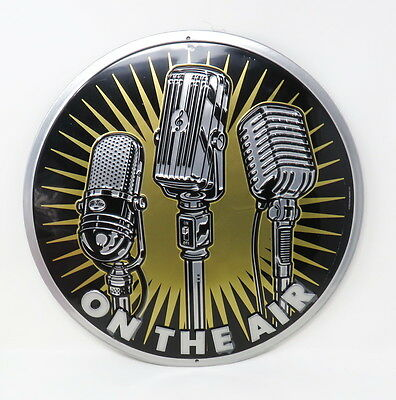 On The Air Embossed Metal Sign Broadcaster Microphone Entertainment Room Retro