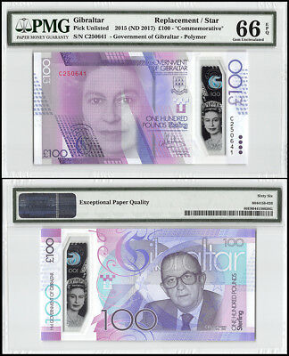 Gibraltar 100 Pounds, 2015 ND 2017,P-NEW,UNC,Polymer,REPLACEMENT/STAR,PMG 66 EPQ