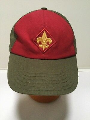 Boy Scout of America BSA Hat SnapBack Cap S/M USA Khaki &Red w/Gold Fleur de lis