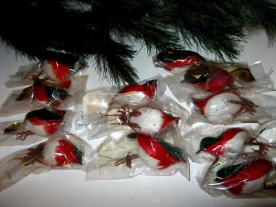7 Dozen Vintage RED Partridge 84 BIRDS w FEATHERS Crafts NEW Old Store Inventory