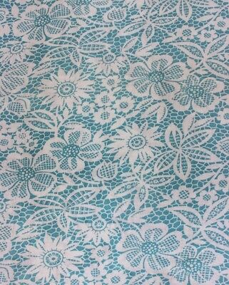 Vintage Turquoise Blue & White Printed Floral On Lace Genuine Feedsack Fabric