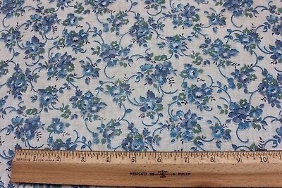 "Beautiful Blue Rose Genuine Vintage Cotton Feed Sack Fabric c1940-1950~26""LX38""W"