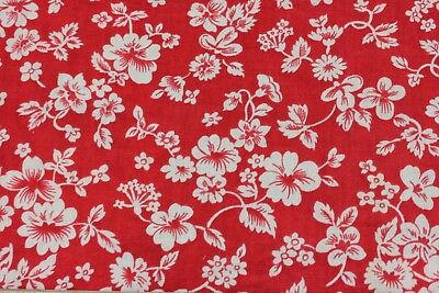 Genuine Vintage Red & White Floral Design Cotton Feed Sack Fabric c1940