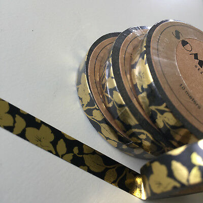 Washi Tape Thin Skinny Gold Foil Vine On Black 7.5Mm X 10Mt Plan Craft Scrap