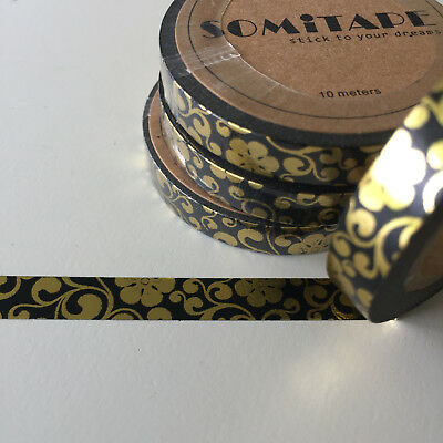 Washi Tape Thin Skinny Gold Foil Funky Floral On Black 7.5Mm X 10Mt Plan Craft