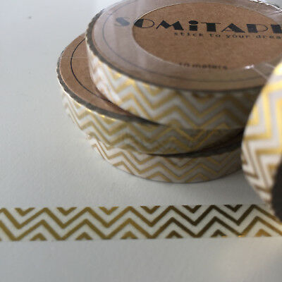 Washi Tape Thin Skinny Gold Foil Zig Zag 7.5Mm X 10Mt Plan Craft Scrap Wrap