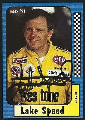 Lake Speed Autographed Signed 1991 Maxx Racing Nascar Photo Trading Card #83