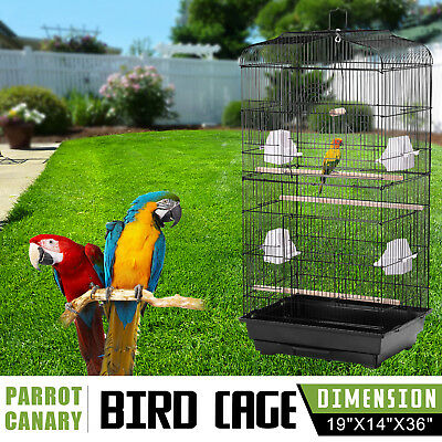 Large Metal Bird Cage Budgie Parrot Canary Cockatiel Detachable Black