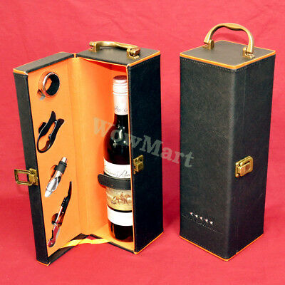 New Premium PU Leather Wine Gift Box Carry Case & Accessory x 2 Units (Kit A)