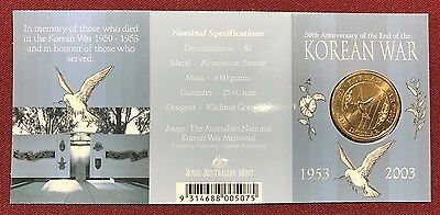 2003 $1 50th Anniversary Of End of The Korean War S-Mint Mark Uncirculated Coin