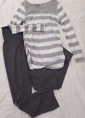Cute maternity lot set of pants and striped long sleeve-motherhood, liz lange
