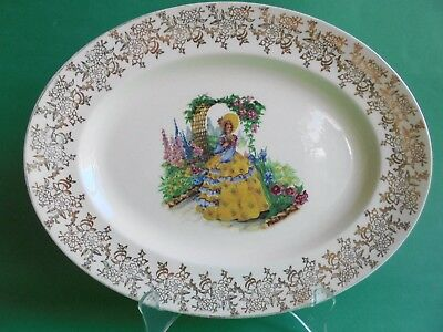 Vintage Crinoline Lady Serving Plate Royal Falcon Ware