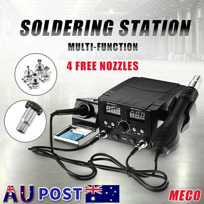 750W 2 In 1 Soldering Iron Desoldering Rework Solder Station LCD Hot Air Heater