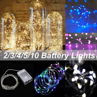 2-10 M LED Battery Powered Copper Wire String Fairy Xmas Party Lights Warm White