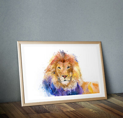 Fine Art Print of My Original Lion Watercolour Painting Signed A3 A4 Brand New