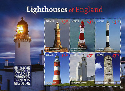 Nevis 2015 MNH Lighthouses of England Europhilex 6v M/S Roker Pier Stamps