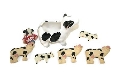 Lot 7 Pc COW Figures, Magnets, Ceramic, Marys MOO MOO, Collectible Fun Cute